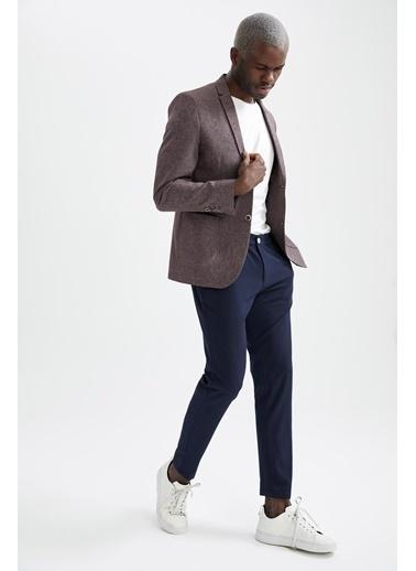 DeFacto Slim Fit Basic Blazer Ceket Bordo